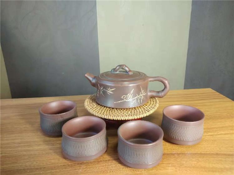 钦州坭兴陶周盘壶茶壶套装