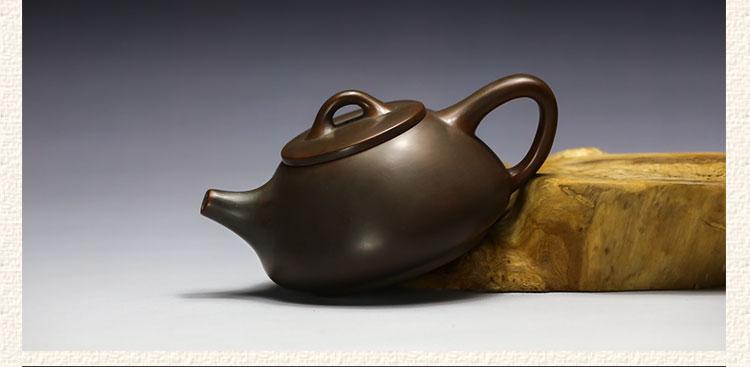 写意荷花线刻石瓢坭兴陶茶壶