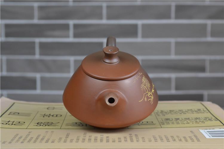 黄兰山水画坭兴陶茶壶雕刻